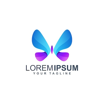 Modelo de logotipo colorido borboleta