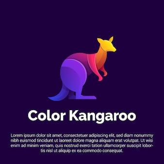 Modelo de logotipo colorido canguru