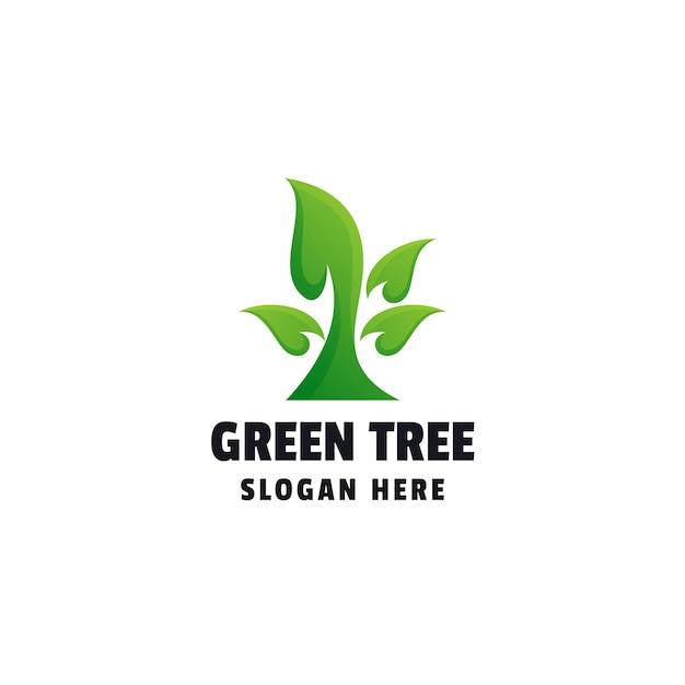 Modelo de logotipo colorido com gradiente de árvore verde