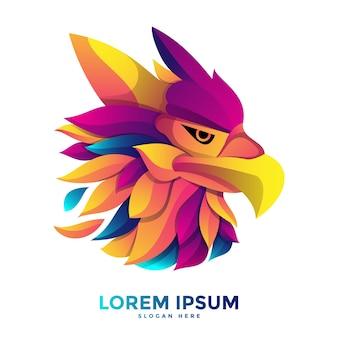 Modelo de logotipo colorido da águia