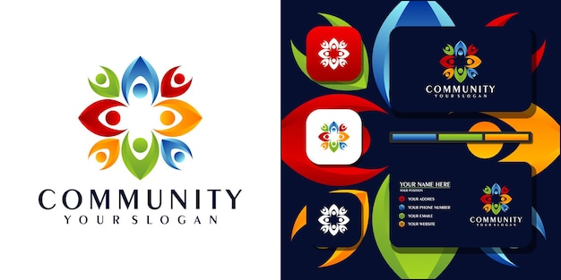 Modelo de logotipo colorido da comunidade e referência de cartão de visita. vetor premium