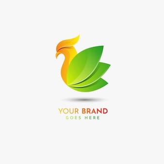 Modelo de logotipo colorido da natureza do pássaro