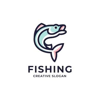 Modelo de logotipo colorido de arte de linha moderna de peixe fresco
