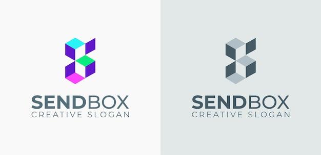 Modelo de logotipo colorido de caixa de envio de carta