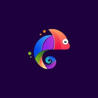 Modelo de logotipo colorido de camaleão