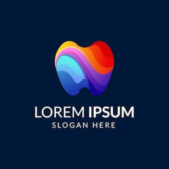 Modelo de logotipo colorido de dentes criativos