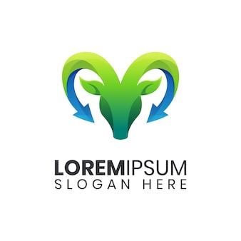 Modelo de logotipo colorido de flecha de cabra da natureza