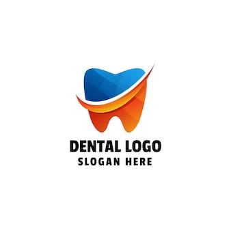 Modelo de logotipo colorido de gradiente dentário