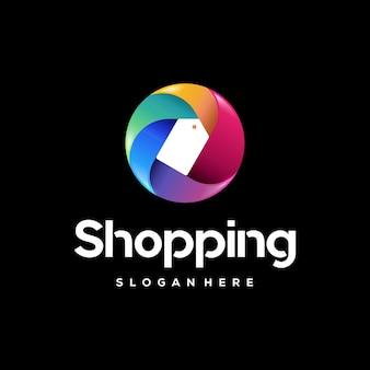 Modelo de logotipo colorido do shopping, designs de logotipo colorido de etiqueta de preço