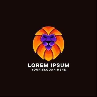 Modelo de logotipo colorido em gradiente de leão