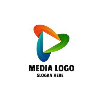 Modelo de logotipo colorido gradiente de mídia abstrata