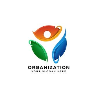 Modelo de logotipo colorido gradiente de pessoas