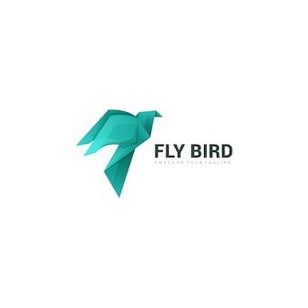 Modelo de logotipo colorido gradiente moderno de pássaro de papel
