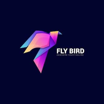 Modelo de logotipo colorido gradiente moderno pássaro mosca de papel