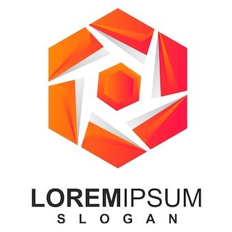 Modelo de logotipo colorido hexágono