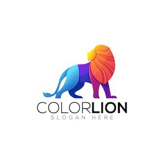 Modelo de logotipo colorido leão