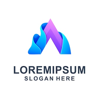 Modelo de logotipo colorido letra a abstrata