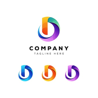 Modelo de logotipo colorido letra d