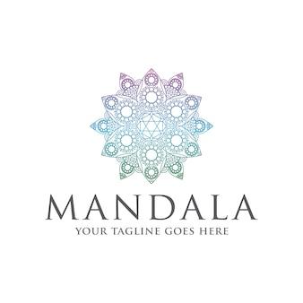 Modelo de logotipo colorido mandala zen
