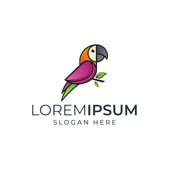 Modelo de logotipo colorido papagaio