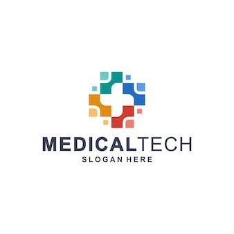 Modelo de logotipo colorido tecnologia médica