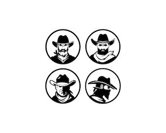 Modelo de logotipo com a imagem do homem de chapéu.