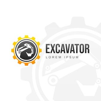 Modelo de logotipo com escavadeira