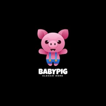 Modelo de logotipo com gradiente colorido de bebê porco
