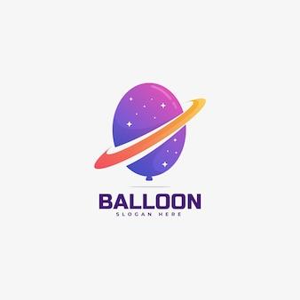 Modelo de logotipo com gradiente colorido do planeta balão