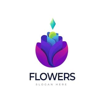 Modelo de logotipo com gradiente de flores