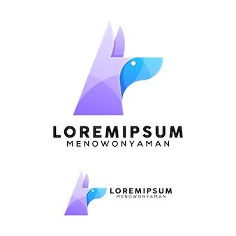 Modelo de logotipo com ilustração colorida de cabeça de cachorro