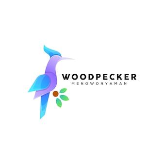 Modelo de logotipo com ilustração colorida do pica-pau