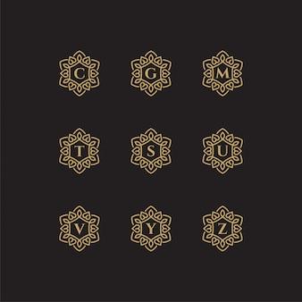 Modelo de logotipo com iniciais c, g, m, t, s, u, v, y, z com uma cor dourada para a empresa