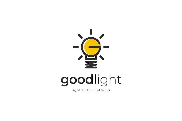 Modelo de logotipo com lâmpada, letra g