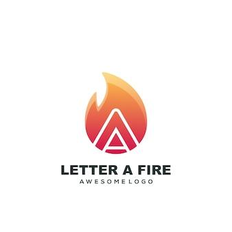 Modelo de logotipo com letra a, logotipo colorido com gradiente de fogo