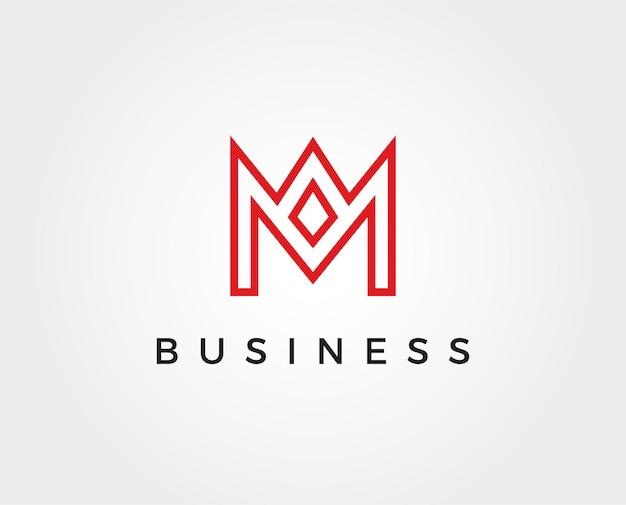 Modelo de logotipo com letra m mínima