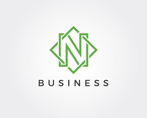 Modelo de logotipo com letra n mínima