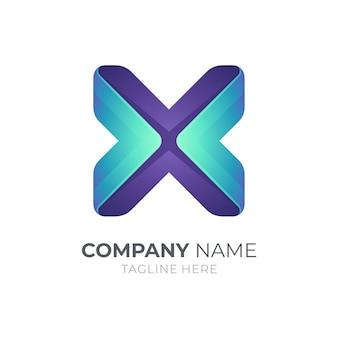 Modelo de logotipo com letra x simples
