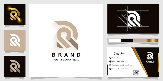 Modelo de logotipo com monograma da letra r ou dr com design de cartão de visita