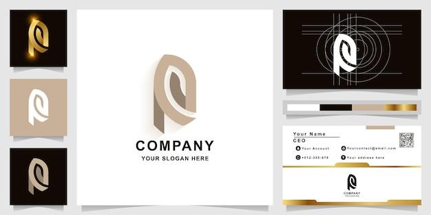 Modelo de logotipo com monograma da letra r ou rp com design de cartão de visita