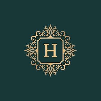Modelo de logotipo com monograma de ornamento vintage de luxo