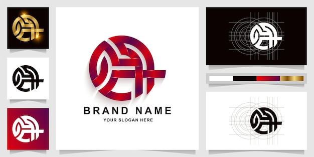 Modelo de logotipo com monograma gca ou gch com design de cartão de visita