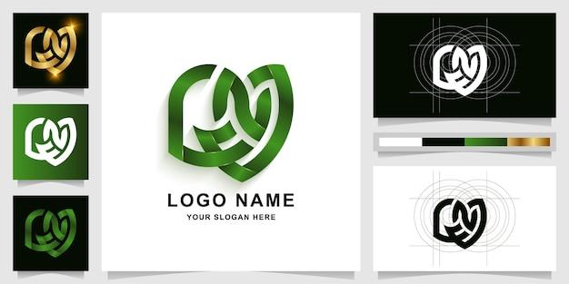 Modelo de logotipo com monograma gna ou cna com design de cartão de visita