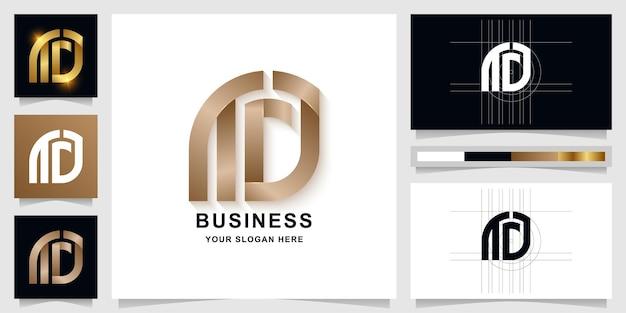 Modelo de logotipo com monograma letra aa ou nta com design de cartão de visita