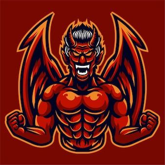 Modelo de logotipo com raiva asas de diabo vermelho