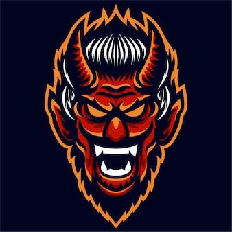 Modelo de logotipo com raiva diabo cabeça vermelha