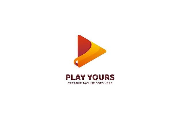 Modelo de logotipo comercial do botão reproduzir música