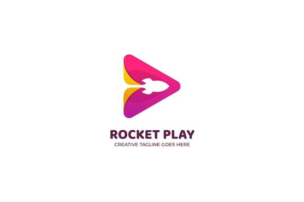 Modelo de logotipo comercial do botão rocket play