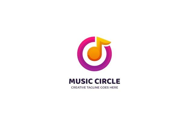 Modelo de logotipo comercial do music circle Vetor Premium