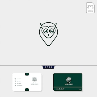 Modelo de logotipo criativo de conceito de coruja e modelo de cartão de visita incluem
